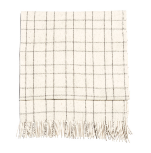 Cream/Grey Plaid Polanco Girls Blanket by Mexchic | H. SMITH