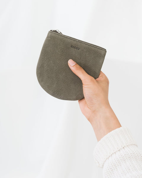 Taupe Nubuck Leather Small U Shaped Pouch by Baggu