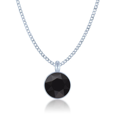 Bella Pendant Necklace with Black Jet Round Crystals from Swarovski Silver Toned Rhodium Plated - Ed Heart