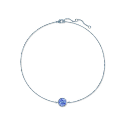Harley Chain Bracelet with Blue Light Sapphire Round Crystals from Swarovski Silver Toned Rhodium Plated - Ed Heart
