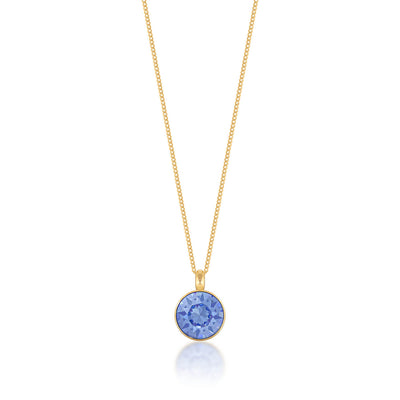 Bella Pendant Necklace with Blue Light Sapphire Round Crystals from Swarovski Gold Plated - Ed Heart