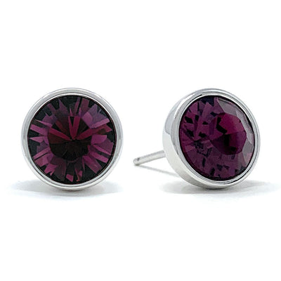 Harley Stud Earrings with Purple Amethyst Round Crystals from Swarovski Silver Toned Rhodium Plated - Ed Heart