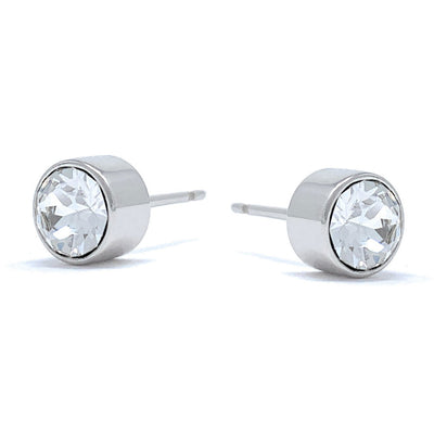 Harley Small Stud Earrings with White Clear Round Crystals from Swarovski Silver Toned Rhodium Plated - Ed Heart