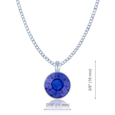 Bella Pendant Necklace with Blue Sapphire Round Crystals from Swarovski Silver Toned Rhodium Plated - Ed Heart