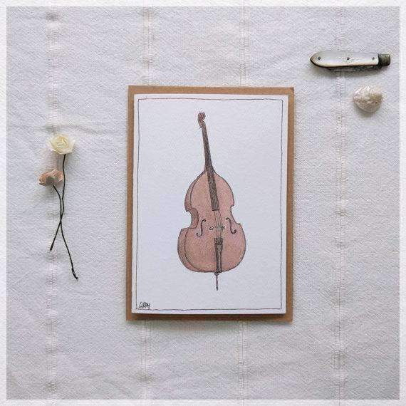 Erlenmeyer Greeting Cards Double Bass ~ Gift Card featuring Watercolour & Ink Illustration by Stephanie Gray