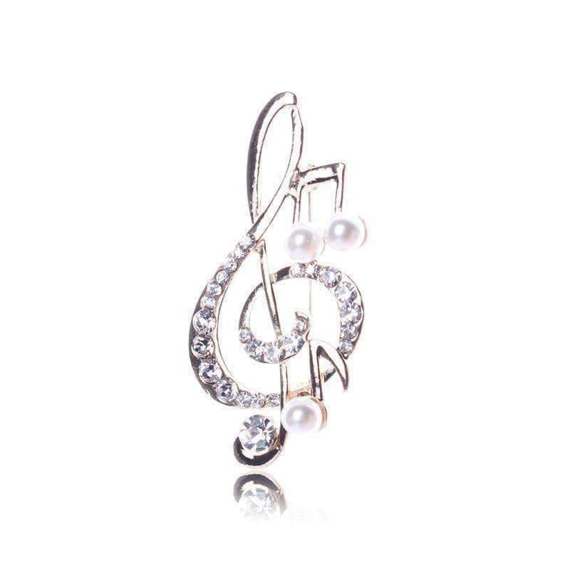 Music Bumblebees Music Jewellery Music Notes Brooch / Pin - Gold with Crystals and Pearls