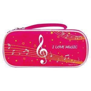 Image of Music Bumblebees Products,Music Stationery,Music Gifts for Kids Pink Music Notes Pencil Case - Dual Opening - Black or Pink