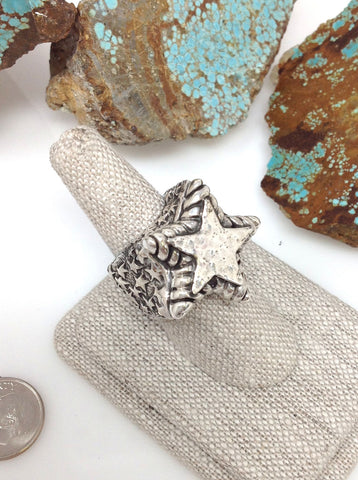 Sterling silver star ring w/ sterling silver star center and star sides