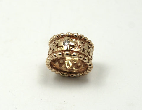 Mens 14K Solid Gold Ring with Crosses and Diamond Center