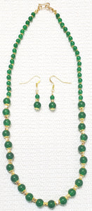 Jade Necklace Chain Set with Golden Faceted Beads