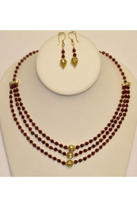 3-string Faceted Ruby Jade Necklace Set #RJ-1
