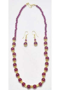 Ruby-color Jade Necklace Chain with Earrings