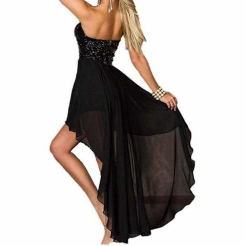 Charming Chiffon Black Sequin High Low Party Dress-Asymmetrical Dress-Edgy Couture