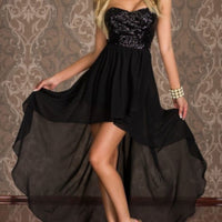 Charming Chiffon Black Sequin High Low Party Dress