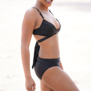 Edgy Black Bandage Criss Cross High Waist Bikini Swimsuit