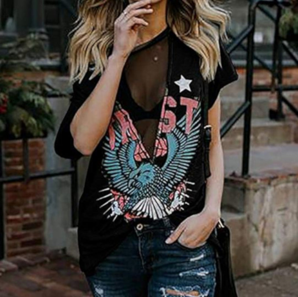 Black Mesh Skull Patriot Steampunk Distressed Graphic T-Shirt