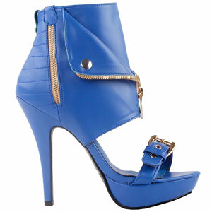 Sexy Pink & Beige Punk Zip Up High Heel Ankle Boot Stilettos 10 / Blue Boots Edgy Couture