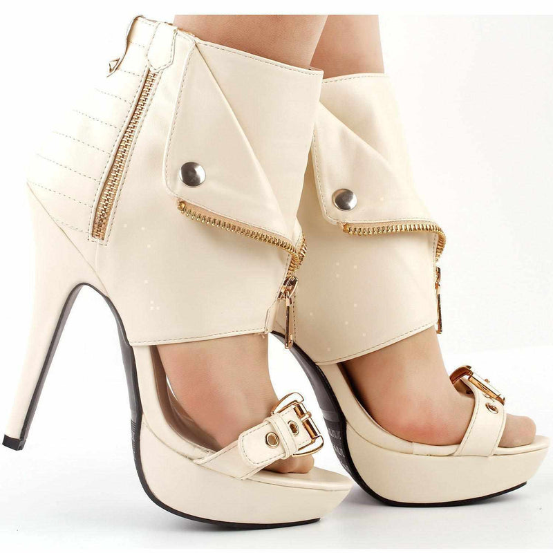 Sexy Pink & Beige Punk Zip Up High Heel Ankle Boot Stilettos  Boots Edgy Couture