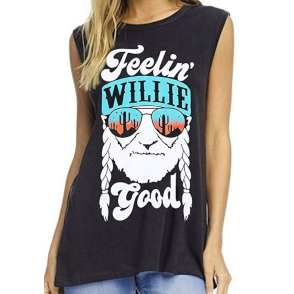 Womens Sleeveless Navy Blue Willie 420 Beach Graphic T-Shirt X-Large / Blue T-Shirts Edgy Couture