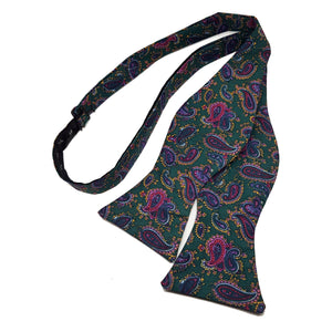 Green Paisley Bow Tie - Self Tie-bow ties-Society Gent