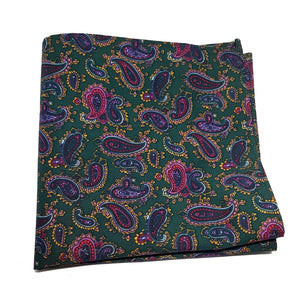 The Chatsworth - Dark Green Paisley Pocket Square-pocket square-Society Gent