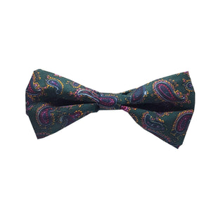 The Chatsworth - Dark Green Paisley Pre-Tied Bow Tie-bow ties-Society Gent