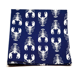 Navy Blue with White Lobsters Pocket Square-sets-Society Gent