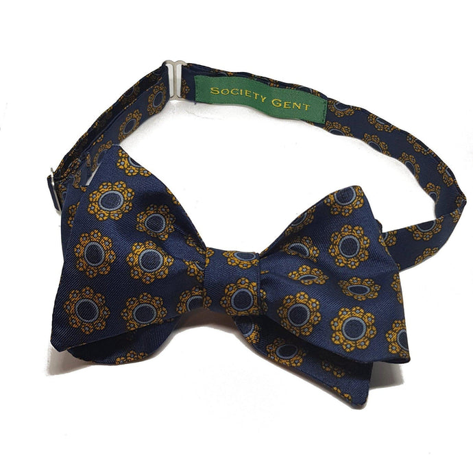 Blue English Heritage Silk Bow Tie with Floral Pattern-bow ties-Society Gent