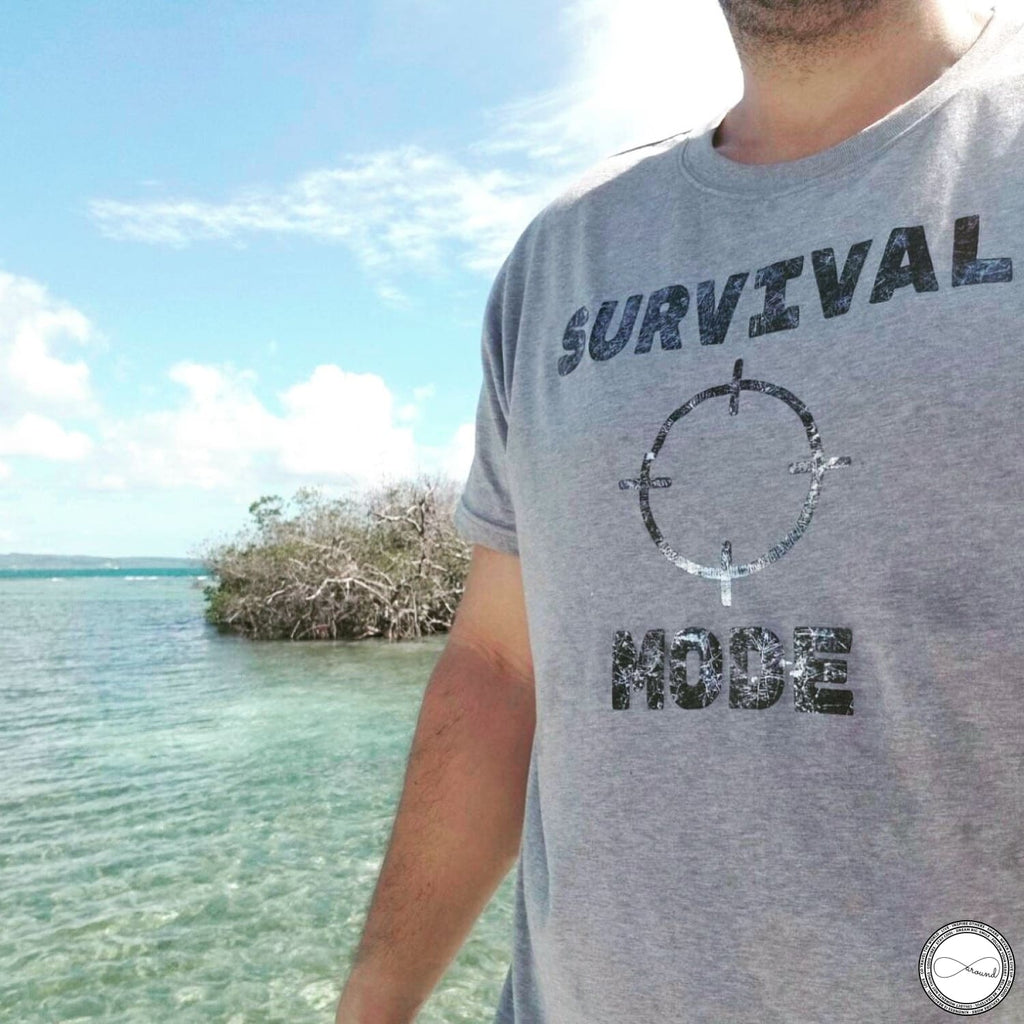 Survival Mode Travel tshirt by Around Eco, soft tshirt, travel outfit, fairtrade clothing,aroundeco tshirt,organic cotton tee