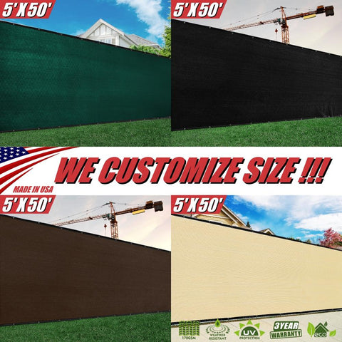 5 Feet Tall Custom Size Order to Make Fence Privacy Screen Windscreen Mesh - Green, Black, Beige, Brown - Colourtree inc