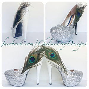 Peacock Feather Glitter High Heels, Silver Ombre Platform Pumps