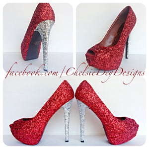 Red Glitter Peep Toe Pumps, Open Toe Wedding High Heels