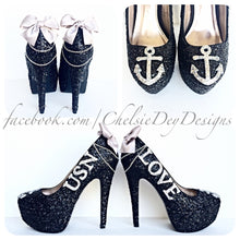 Navy Glitter High Heels, Military Ball Black Silver Platform Pumps