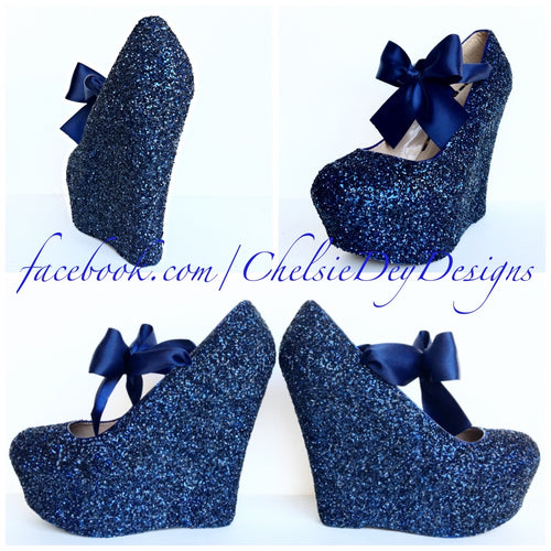 Glittery Navy Blue Pumps Custom Made by Chelsie Dey Designs