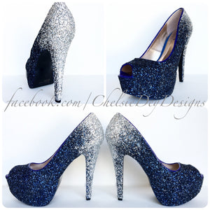 Navy Blue Peep Toe Glitter Pumps, Something Blue Ombre Wedding High Heels