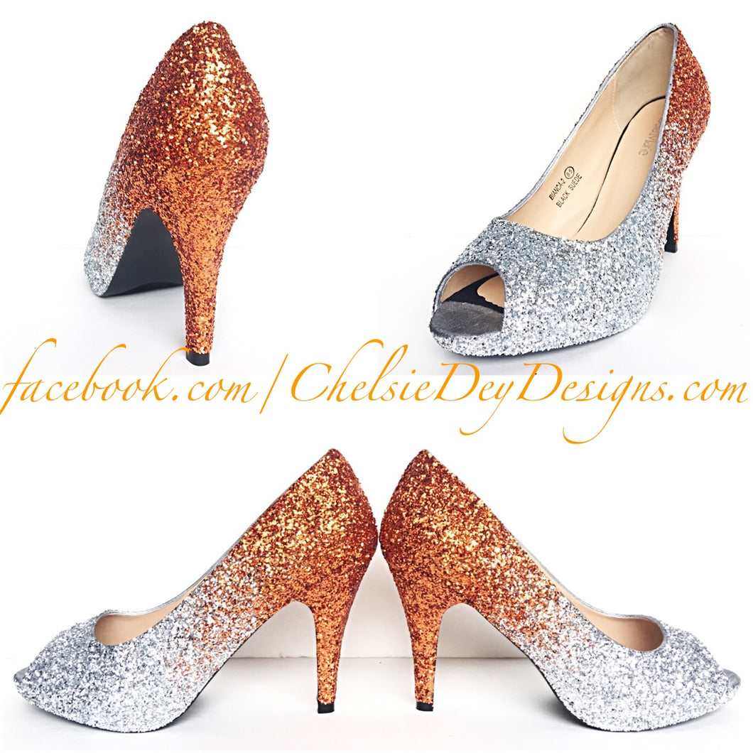 Orange Glitter Peep Toe Pumps, Silver Wedding Open Toe High Heels