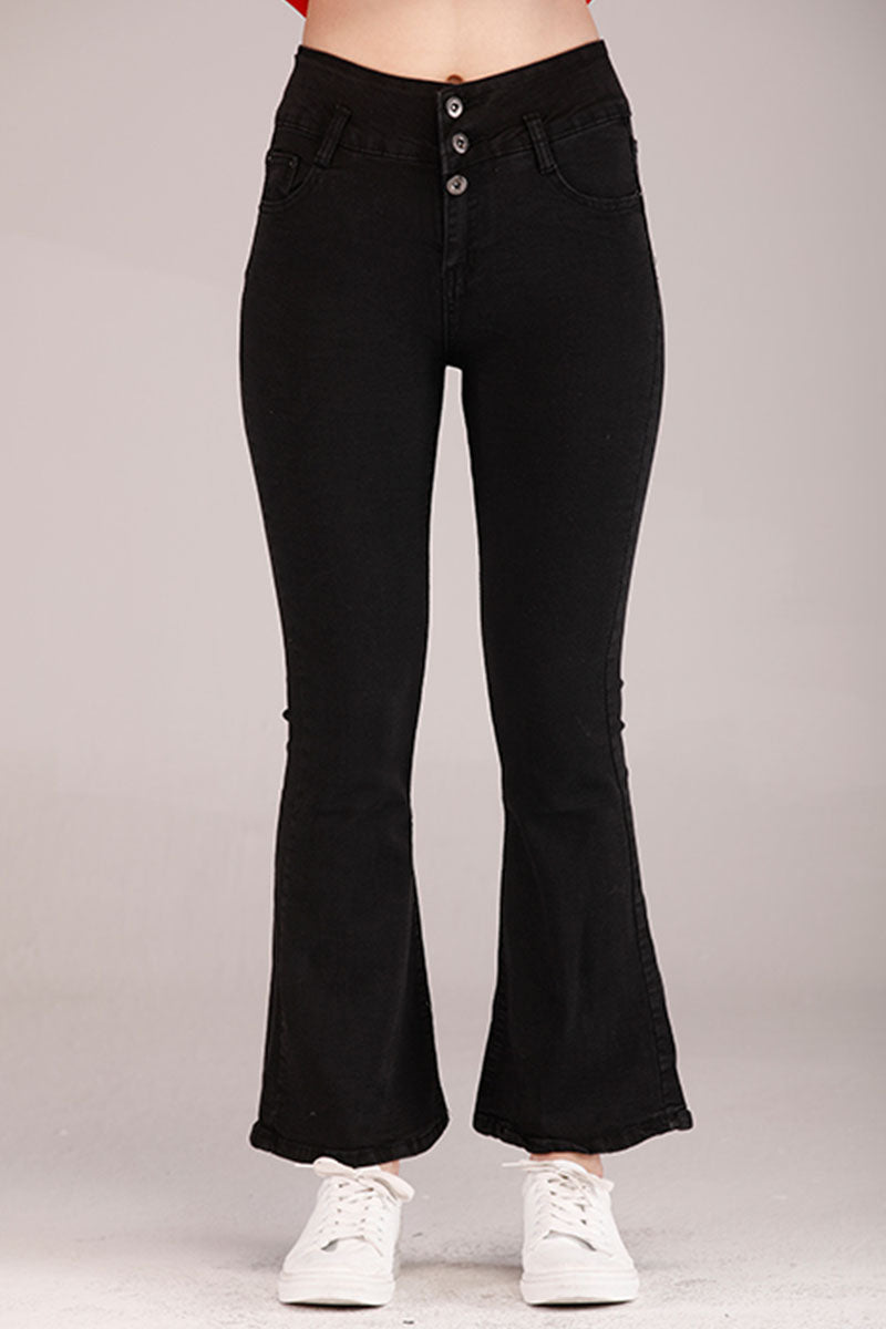 SOLID COLORED FLARED HIGH WAIST JEANS