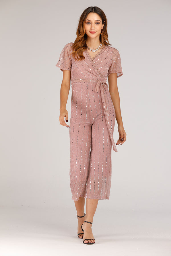 Shiny Pink Jumpsuit With Short Sleeves