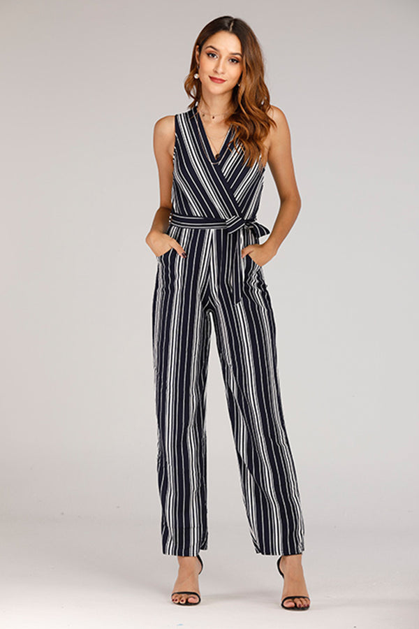 SLEEVELESS BLACK AND WHITE STRIPED KNIT JUMPSUIT