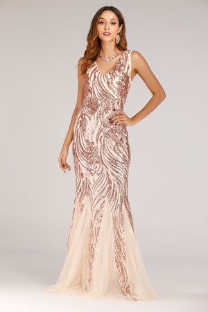 Long Dress With Sequins Pattern