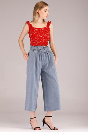 Mantra Pakistan STRIPED JEANS WITH CLENCHED WAIST | BOTTOMS