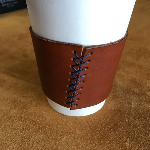 Leather Coffee Sleeve - Tan with Blue Thread