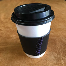 Leather Coffee Sleeve - Black with Purple Thread