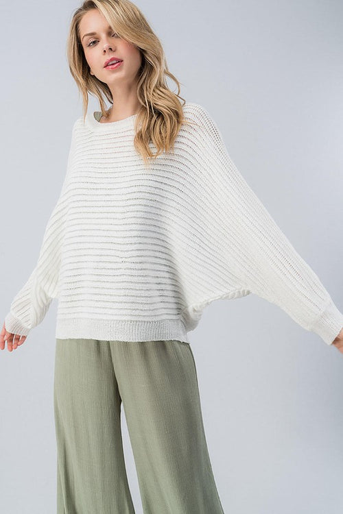 Rib Knit Batwing Dolman Sleeve Light-Weight Sweater | Cheeky Cactus