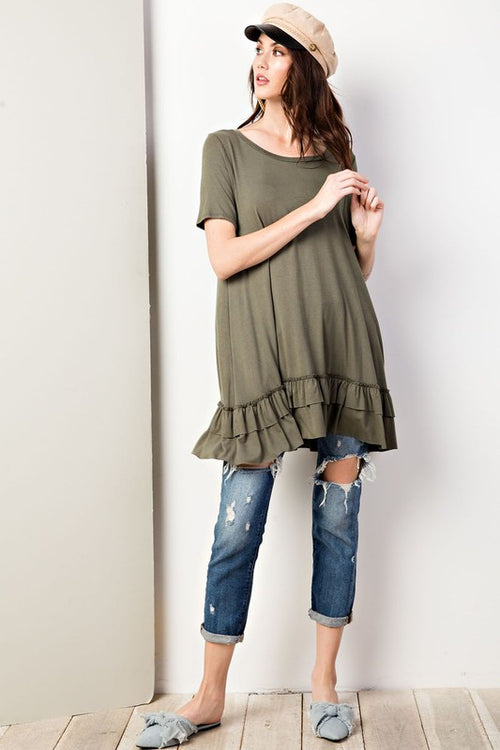 Sage Soft Tunic With Ruffled Edge Detail | Cheeky Cactus