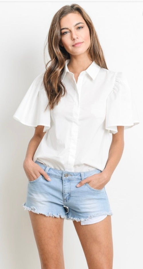 White Button up with Bow Tie back Accent | Cheeky Cactus