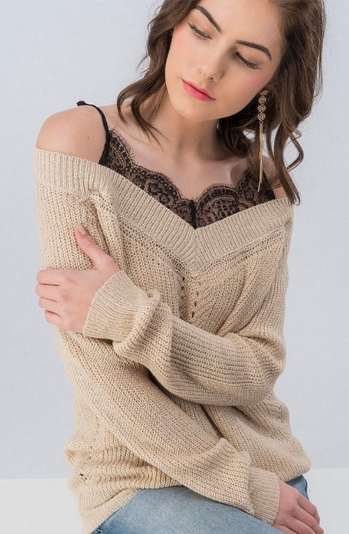 Taupe Knit Top with Black Lace Straps | Cheeky Cactus