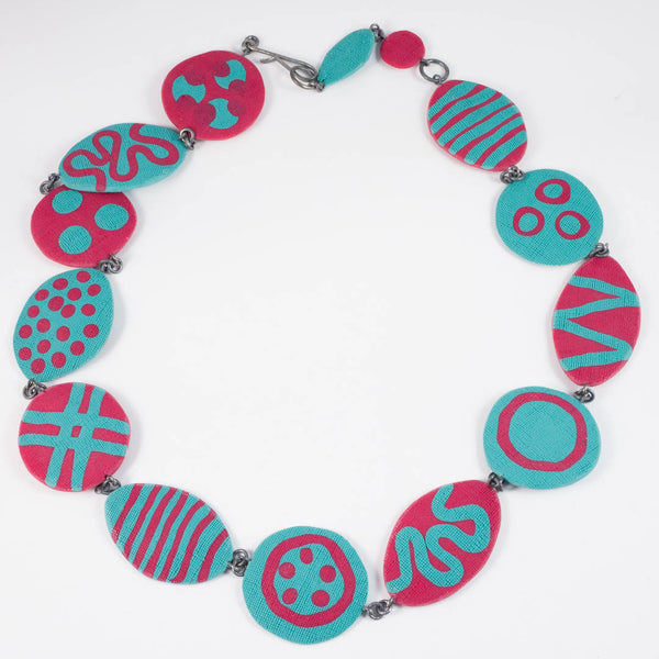 Dot necklace Red/Teal