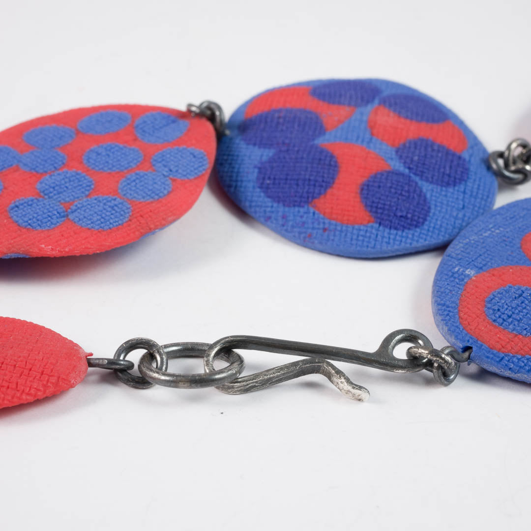 Dot necklace Blue/Orange