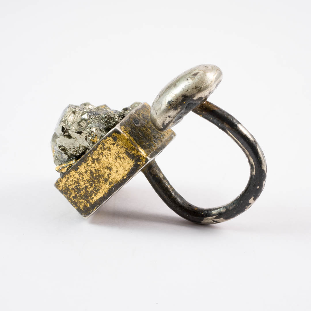 Cubed Pyrite ring